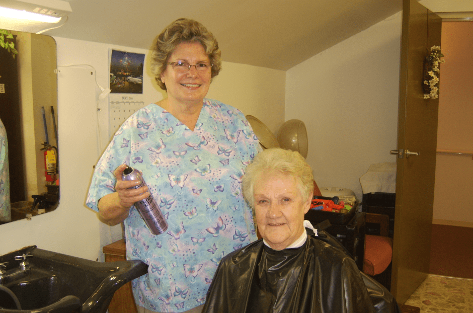WRC Senior Services resident getting hair styled