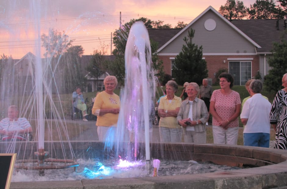 Village Slideshow Fountain at Night